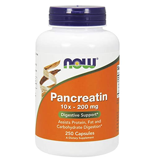 NOW Supplements, Pancreatin 10X 200 mg with naturally occurring Protease (Protein Digesting), Amylase (Carbohydrate Digesting), and Lipase (Fat ...