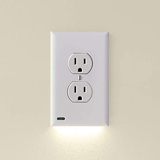 Single - SnapPower GuideLight 2 for Outlets [New Version - LED Light Bar] - Night Light - Electrical Outlet Wall Plate with LED Night Lights - Automatic On/Off Sensor - (Duplex, White)
