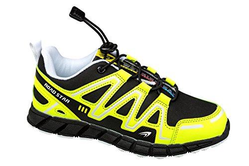 gibra - Zapatillas de running de Material Sintético para hombre negro/amarillo neón