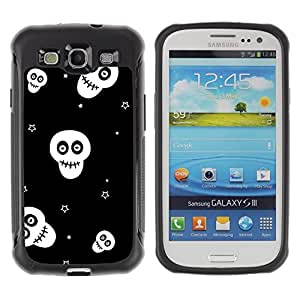"Pulsar iFace Series Tpu silicona Carcasa Funda Case para Samsung Galaxy S3 III I9300 , Calaveras Estrellas Negro Blanco Wallpaper Smiley"""