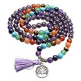 Jovivi 8mm Natural 7 Chakra Healing Crystal Amethyst Crystal Gemstone Buddhist Prayer 108 Beads Tibetan Mala Bracelet Necklace