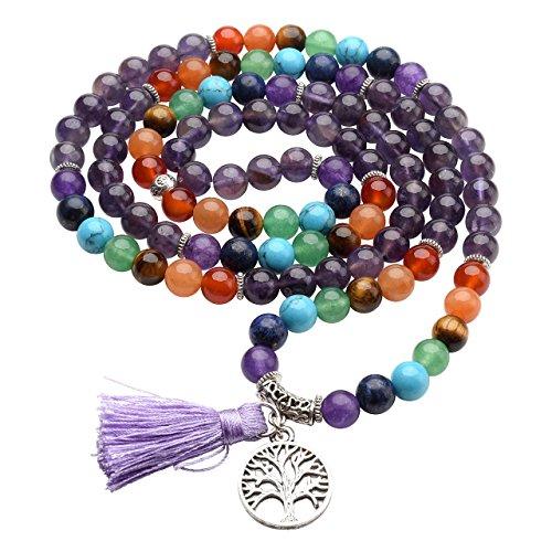 Jovivi 8mm Natural 7 Chakra Healing Crystal Amethyst Crystal Gemstone Prayer 108 Beads Tibetan Mala Bracelet Necklace -
