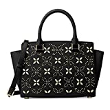 Michael Kors Selma Flora Medium Top Zip Satchel (Black/Gold)