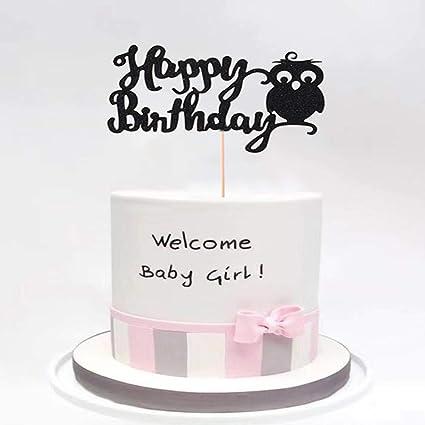 Miraculous Black Owl Happy Birthday Cake Topper Owl Birthday Party Personalised Birthday Cards Akebfashionlily Jamesorg