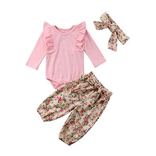 3PCS Clothes Set Newborn Toddler Baby Girl Romper Bodysuit Jumpsuit Floral Halen Pants Outfit Clothes (6-9 Months, Pink) ()