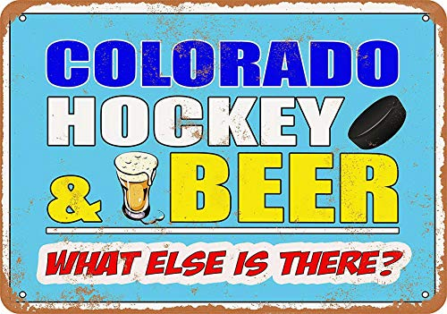 (F-More Cowboy Tin Signs 8 x 12 Metal Sign - Colorado Hockey and Beer - Vintage Look Home Decor Online)