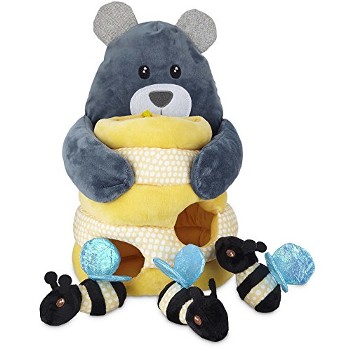 Bear Honey Bee (Leaps & Bounds Play Plush Honey Bear Dog Toy, 12