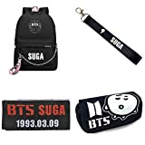 Youyouchard Kpop BTS Stationery Set, BTS Backpack/School Bag, Multi-Functional Zipper Stationery Case, Magic Embroidery Sticker with Keychain(H5-SUGA1)