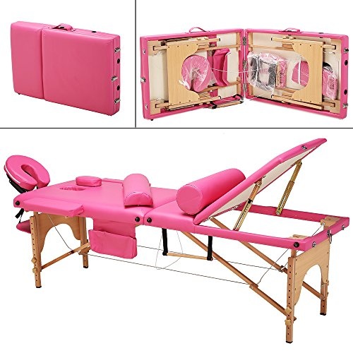 "85""L All-Inclusive 3 Fold Portable Massage Table – Facial SPA Bed Portable Salon Equipment, with Free 2 Bolsters/Cradle/Hanger/Carry Case (Pink)"