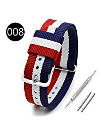Nylon Canvas Band Nylon Watch Strap Stainless Steel Buckle with 18mm 20mm (20mm, 008)