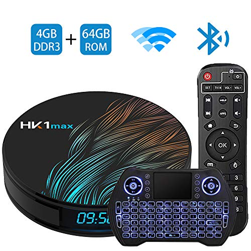 Android TV Box 9.0 4GB 64GB Smart TV Box Streaming Media Player RK3318 USB 3.0 Ultra HD 4K HDR Dual Band WiFi 2.4GHz 5.8GHz Bluetooth 4.1 Set Top Box with Mini Wireless Backlit Keyboard HK1 MAX 4G 64
