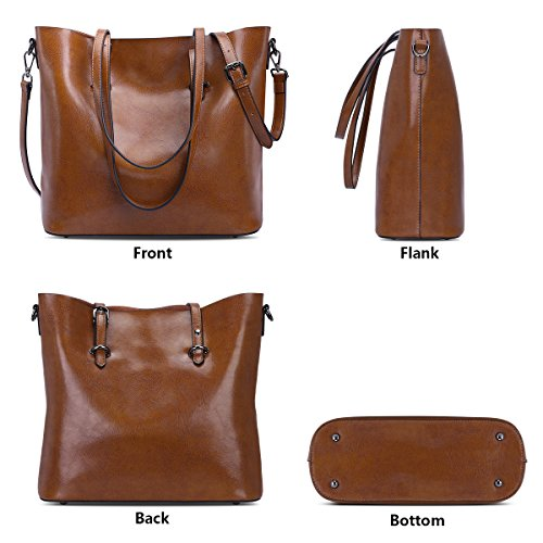 Cross Top Women ZONE Bag Shoulder Leather Brown Dark Bag Body Handle S Handbag Purse Messenger Tote AwBCxtqYY