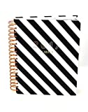 C.R. Gibson 2017 Dated Planner, 17-Month Planner with Tabbed Dividers and Sticker Sheets, Measures 8'' x 10'' - Black and White Stripes