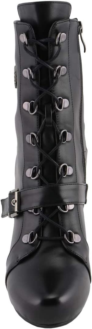 10 Milwaukee Performance MBL9431 Womens Black Lace-Up Boots with Block Heel and Buckle Strap