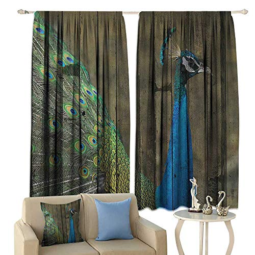 Peacock Decor Collection Thermal Curtains Peacock Mural on The Wall Royal Mythological Animal Represents Patience Artwork Privacy Protection