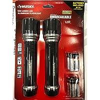 2 Pack Husky 500 Lumens LED Unbreakable Aluminum Flashlight