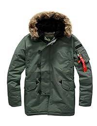 Southplay Mens Racoon Fur Waterproof Ski-snowboard Military Jacket