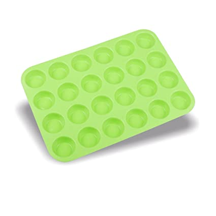 Gessppo Molde de pastel 24 Cup Cavity Mini Muffin Silicone Soap Cookies Cupcake Bakeware Pan Tray