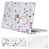 MOSISO MacBook Pro 13 inch Case 2019 2018 2017 2016 Release A2159 A1989 A1706 A1708, Plastic Pattern Hard Shell & Keyboard Cover & Screen Protector Compatible with MacBook Pro 13, Crystal Bee & Floral