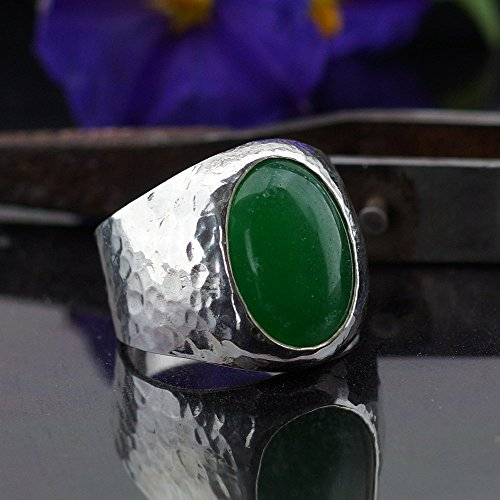 Bold Collection By Omer Large Green Jade Men's Ring Handmade 925 Sterling Silver