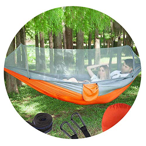 JIA-WALK Portable Outdoor Camping Hammock with Mosquito Net Parachute Fabric Hammocks Beds Hanging Swing Sleeping Bed Tree Tent,HK3 250X120cm GA-OR