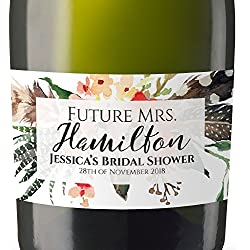 """Bridal Party"" Mini Champagne Wine Bottle Custom Label Sticker for Bridal Shower Party, Engagement, Wedding Gift, Bachelorette, Elopement Invitation - Specialized Personalized Bespoke Set of 8"