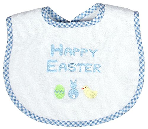 Raindrops Embroidered Bib, Happy Easter, Blue, Small