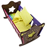 Imagination Generation Star Bright Colorful Rocking Doll Cradle with Bedding, Fits 18' American Girl Dolls