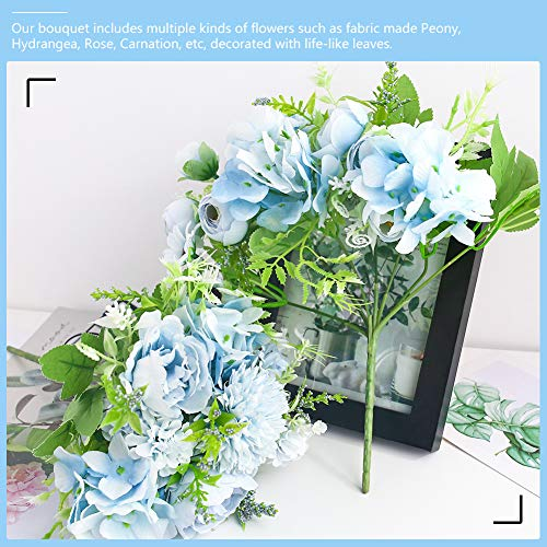 JOHOUSE Artificial Flowers, 4PCS Light Blue Fake Peony Silk Hydrangea Rose Bouquet Decor Plastic Carnations Realistic Flower Arrangements Wedding Decoration Table Centerpieces