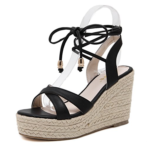 MAKEGSI Womens Jute-Rope Middle Wedge Heel Summer Shoes Flip Sandals Lace Up (8.5, Black)