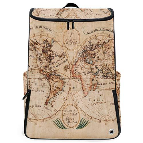 (Travel Backpack Vintage Retro World Map Watercolor College Backpack for Men Large Hiking Bookbag)