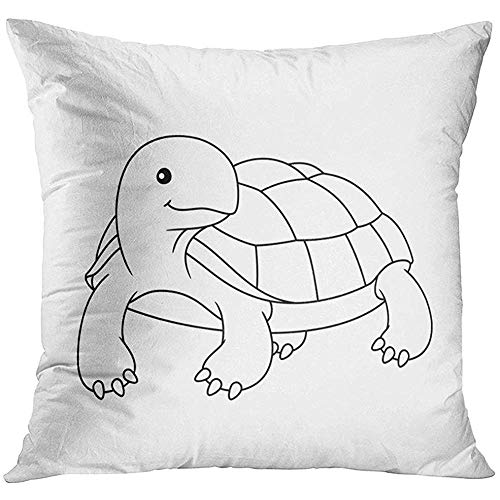 Throw Pillow Cover Outline Black and White Cute Cartoon Turtle Coloring Book for The Children Page Tortoise Decorative Pillow Case Home Decor Square 18x18 Inches -