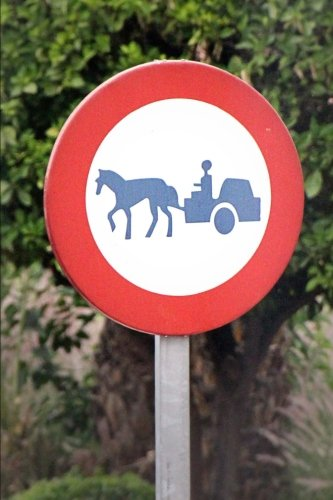 No Horse-Drawn Carts Road Sign Journal: 150 page lined notebook/diary
