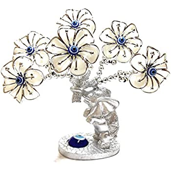 Lucky Evil Eye, Elephant and Flower Money Fortune Tree for Protection, Blessing, Strength and Power. A Beautiful Ornament for Home Table or Office Desk, Great Gift (Silver/White)