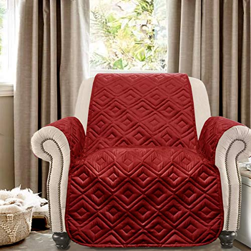 DriftAway Marley 100 Percent Waterproof Furniture Protector Quilted Cover Couch Slipcover Perfect for Kids Pet Cat Dog Machine Washable Chair Red (Holiday Furniture)