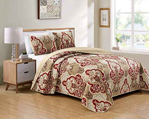 Luxury Home Collection 3 Piece King/California King Quilted Reversible Coverlet Bedspread Set Floral Printed Taupe Red