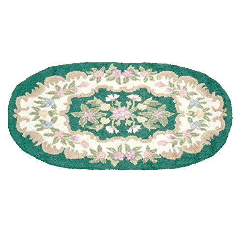 Wool Oval Traditional Area Rug Hooked Green Floral 3' X 5' | Renovator's Supply 3x5 Feet Hooked Rug