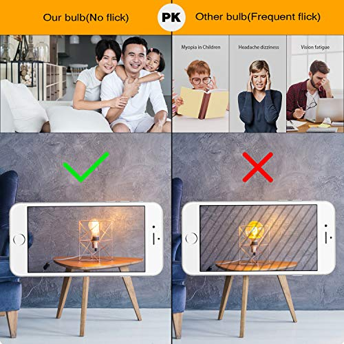 Vintage LED Edison Bulb Dimmable 6W A19 LED Light Bulbs 2700K Soft White 600LM Led Filament Bulb 60W Incandescent Equivalent E26 Medium Base Decorative Clear Glass for Home, Restaurant, Cafe, 6 Pack by Boncoo (Image #5)