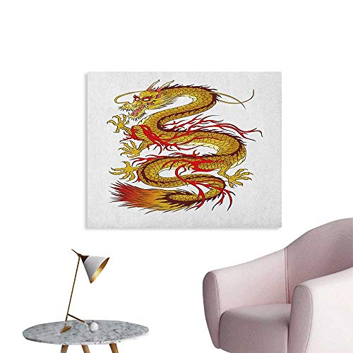 (Japanese Dragon Wall Sticker Decals Gold Colored Mythical Fantastic Figure Fiery Character Ancient Cultural Poster Paper Mustard Red W36 xL24)
