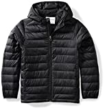 Amazon Essentials Boys' Lightweight Water-Resistant Packable Hooded Puffer Jacket, Black Caviar, X-Small