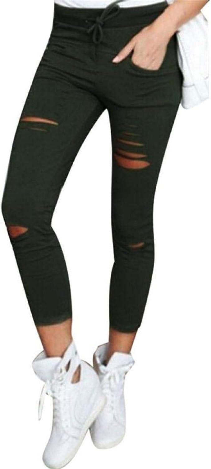 Da Donna Blu Navy misto lino con coulisse Pantaloni Casual 10-22