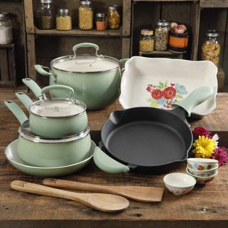 Useful,Gorgeous and Stunning The Clara 17-Piece Classic Belly Aluminum Cookware Combo Set, Mint,Perfect Gift Idea for Moms and Anyone who loves to Cook