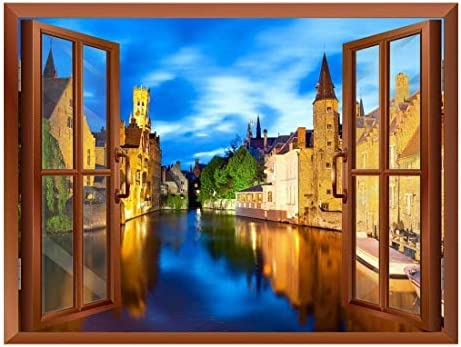 Beautiful Scenery Landscape Venice Italy View from Inside a Window Removable Wall Sticker Wall Mural