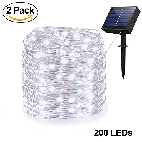Adecorty Solar String Lights Outdoor String Lights 2 Pack 200 LED 66ft 8 Modes Starry String Lights Indoor/Outdoor Waterproof Solar Decoration Lights for Garden Home Party Bedroom Decor (Cool White) from Adecorty