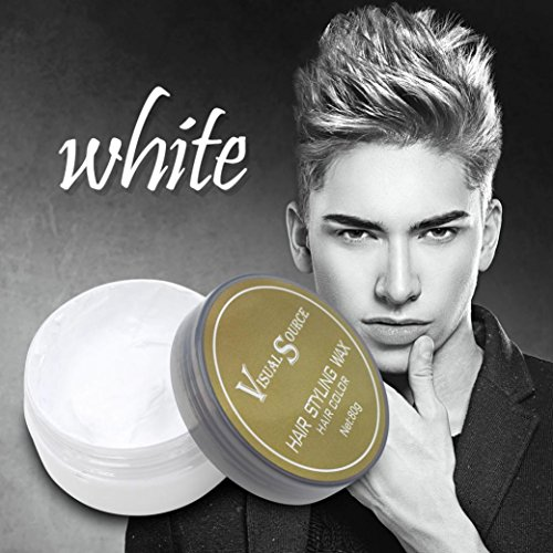 Temporary Modeling Natural Hair Styling Wax,SMYTShop Professional Ash Hair Wax Dye Mud,Natural Matte Hairstyle Hair Dye Wax for Party,Cosplay,Halloween,Nightclub,Masquerad (Silver)