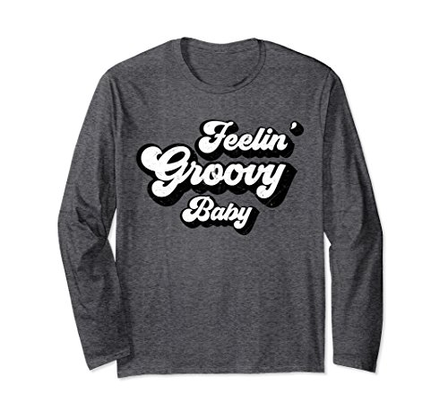 Unisex Feeling Groovy Baby Long Sleeve T Shirt XL: Dark Heather