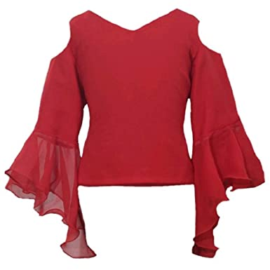 Je T'Aime Mumum RED Georgett Solid Fashion Sleeve Casual top
