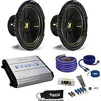 """Kicker Two 44CWCS124 12"""" CompC Subwoofers & Hifonics ZXX-1200.1D ZEUS 1200 Watt Amplifier & Wiring Kit"""