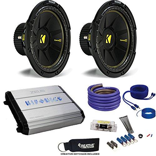 """12"""" CompC Subwoofers & Hifonics ZXX-1200.1D Zeus 1200 Watt Amplifier & Wiring Kit ()"""