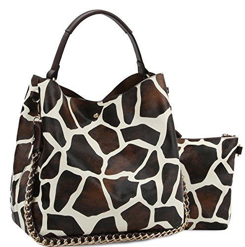 Giraffe Hobo Handbag - Handbag Republic Giraffe Print Hobo w/Inner Bag Crossbody- Brown